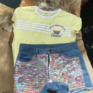 Justice shirt and shorts outfit sz12